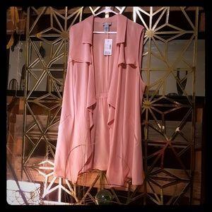 Dark pastel pink sleeveless jacket